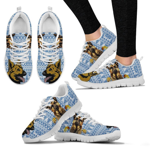 German Shepherd Print Christmas Running Shoes For Women-Free Shipping-Paww-Printz-Merchandise