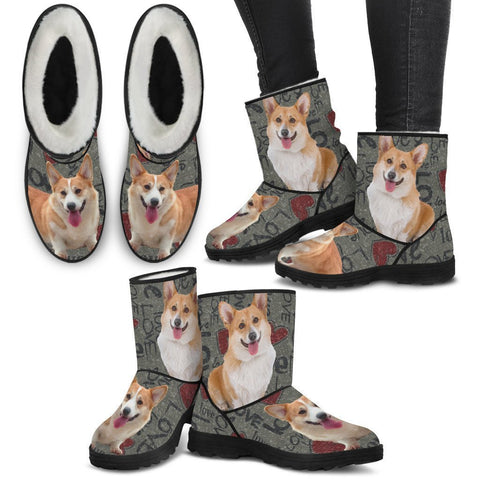 Pembroke Welsh Corgi Print Faux Fur Boots For Women-Free Shipping-Paww-Printz-Merchandise