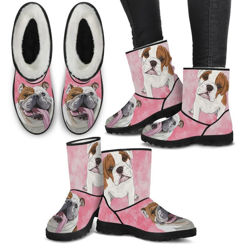 Bulldog Print Faux Fur Boots For Women-Free Shipping-Paww-Printz-Merchandise