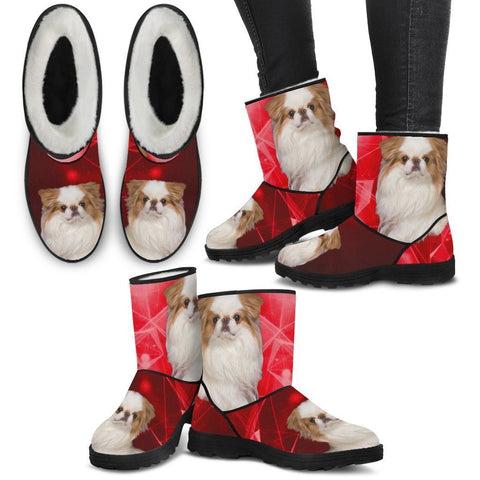 Japanese Chin Print Faux Fur Boots For Women-Free Shipping-Paww-Printz-Merchandise