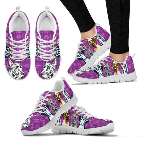 Great Dane Print Christmas Running Shoes For Women- Free Shipping-Paww-Printz-Merchandise