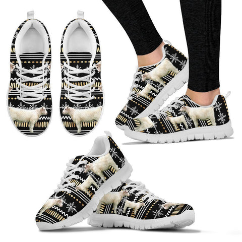 Shorthorn Cow Print Christmas Running Shoes For Women- Free Shipping-Paww-Printz-Merchandise