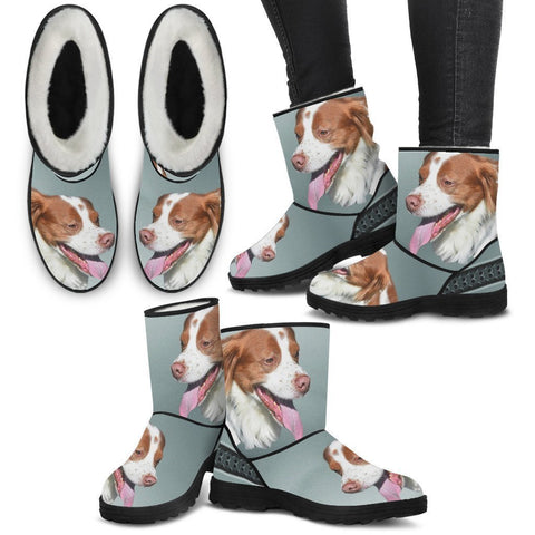 Brittany dog Print Faux Fur Boots For Women-Free Shipping-Paww-Printz-Merchandise