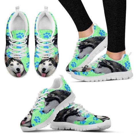 Siberian Husky Paws Print (Black/White) Running Shoes For Women-Free Shipping-Paww-Printz-Merchandise