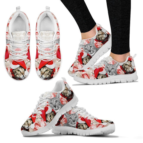 Savannah Cat Christmas Running Shoes For Women- Free Shipping-Paww-Printz-Merchandise
