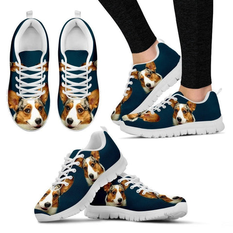 Corgi Print Customized-White Running Shoes For Women-Designed By Christina Jensen-Paww-Printz-Merchandise