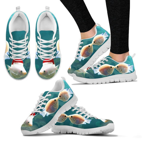 Kissing Gourami Fish Print Christmas Running Shoes For Women- Free Shipping-Paww-Printz-Merchandise