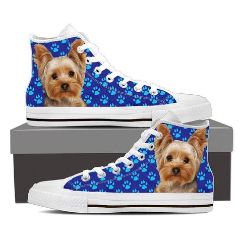 Paws Print Yorkshire (Black/White) High Top Shoes For Women-Express Shipping-Paww-Printz-Merchandise