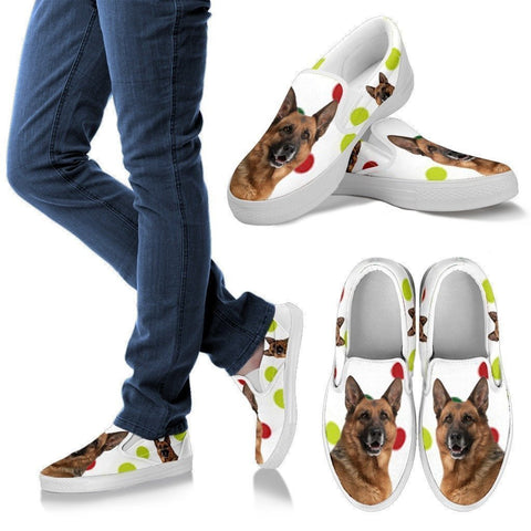 German Shepherd Dog Print Slip Ons For Women-Express Shipping-Paww-Printz-Merchandise
