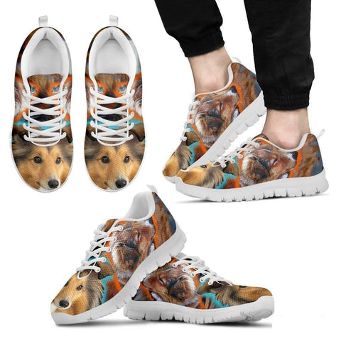 Shetland Sheepdog Dog Print Running Shoe For Men- Free Shipping-Paww-Printz-Merchandise