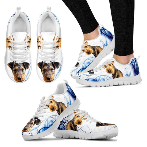 Airedale Terrier Print Sneakers For Women(White)- Free Shipping-Paww-Printz-Merchandise
