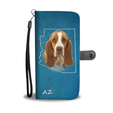 Cute Basset Hound Print Wallet Case- Free Shipping-AZ State