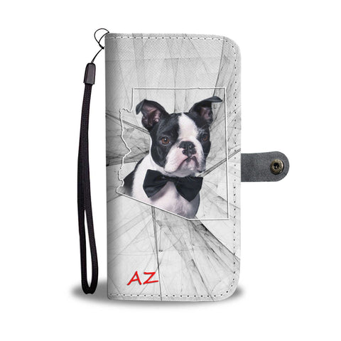Boston Terrier On White Print Wallet Case- Free Shipping-AZ State