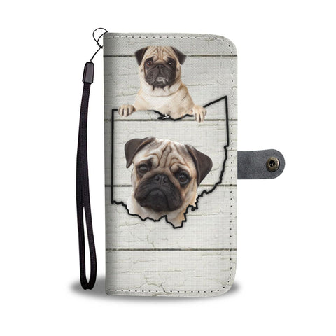 Cute Pug Print Wallet Case-Free Shipping-OH State
