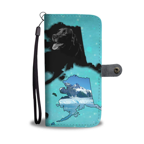 Black Labrador Retriever Dog Print Wallet Case-Free Shipping-AK State