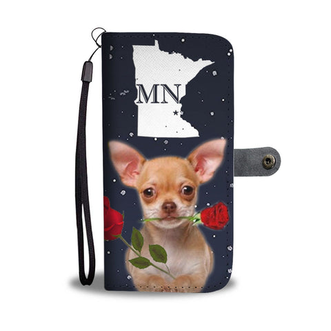 Chihuahua With Rose Print Wallet Case-Free Shipping-MN State