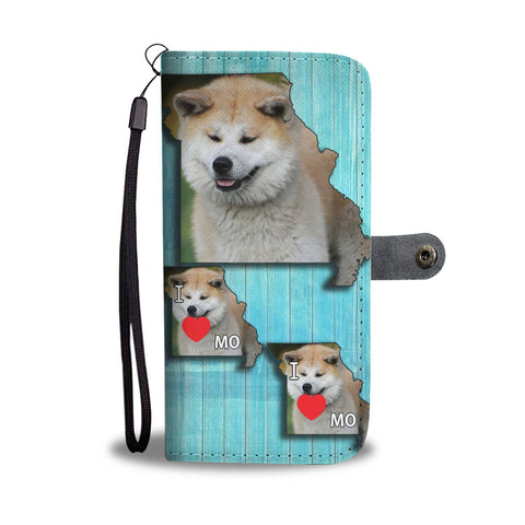Akita Dog Print Wallet Case-Free Shipping-MO State