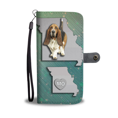Cute Basset Hound Print Wallet Case-Free Shipping-MO State