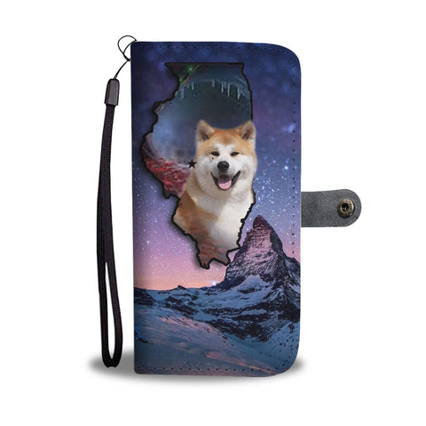 Akita Dog Print Wallet Case-Free Shipping-IL State