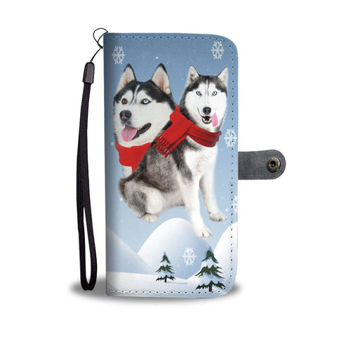 Amazing Siberian Husky Christmas Print Wallet Case-Free Shipping