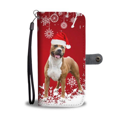 American Staffordshire Terrier Christmas Print Wallet Case-Free Shipping
