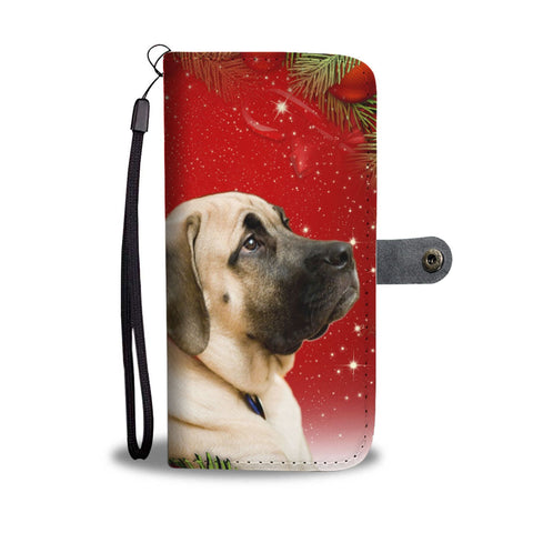 Cute English Mastiff On Christmas Print Wallet Case-Free Shipping