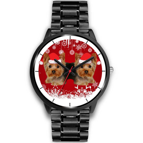 Black Dial-Yorkshire Terrier (Yorkie) Christmas Print Wrist Watch-Free Shipping