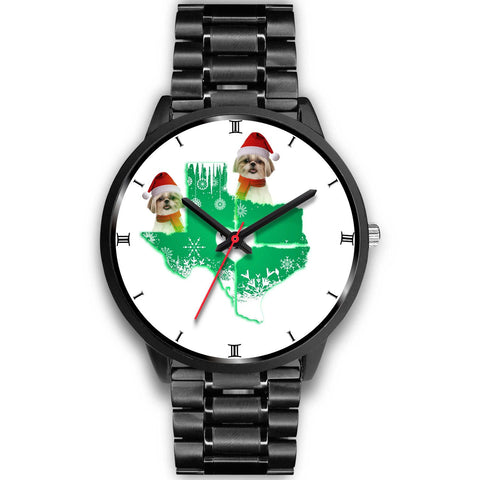 Shih Tzu Texas Christmas Print Wrist Watch-Free Shipping