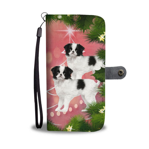 Cute Japanese Chin Dog Christmas Print Wallet Case-Free Shipping
