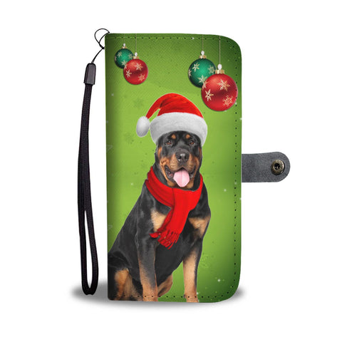 Cute Rottweiler Dog On Christmas Print Wallet Case-Free Shipping