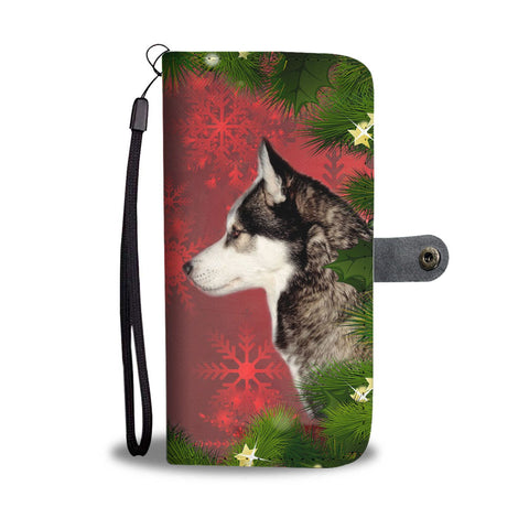 Siberian Husky Dog On Red Christmas Print Wallet Case-Free Shipping