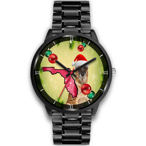 Belgian Malinois Dog On Christmas Florida Wrist Watch-Free Shipping