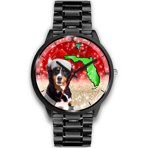 Bernese Mountain Dog On Christmas Florida Wrist Watch-Free Shipping