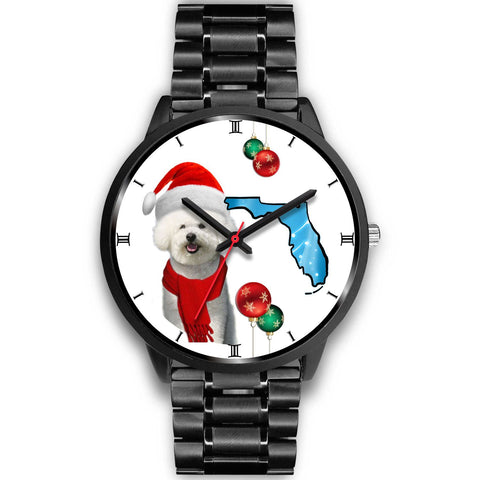 Bichon Frise On Christmas Florida Wrist Watch-Free Shipping