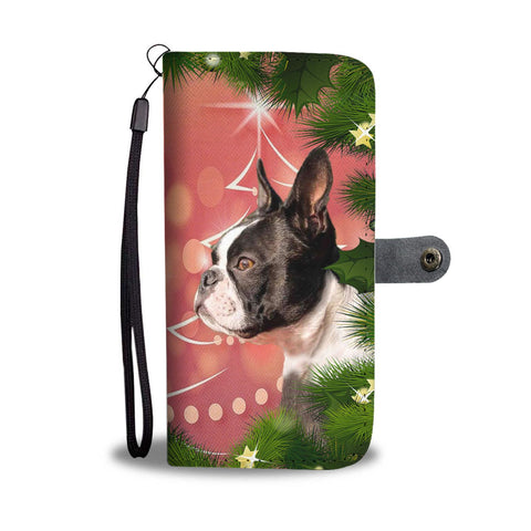 Boston Terrier Dog Christmas Print Wallet Case-Free Shipping