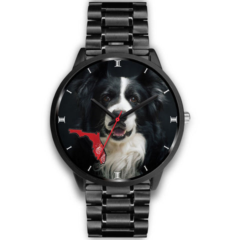 Border Collie On Christmas Florida Wrist Watch-Free Shipping
