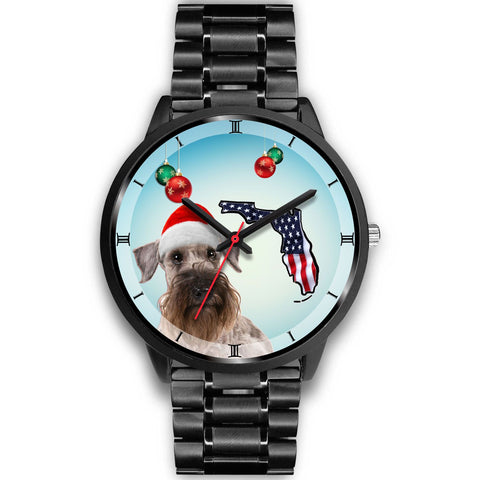 Cesky Terrier On Christmas Florida Black Wrist Watch-Free Shipping