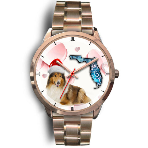 Rough Collie On Christmas Florida Golden Wrist Watch-Free Shipping