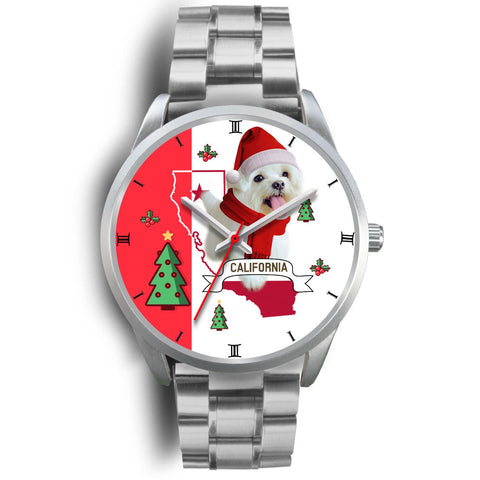 Cute Maltese Dog California Christmas Special Wrist Watch-Free Shipping