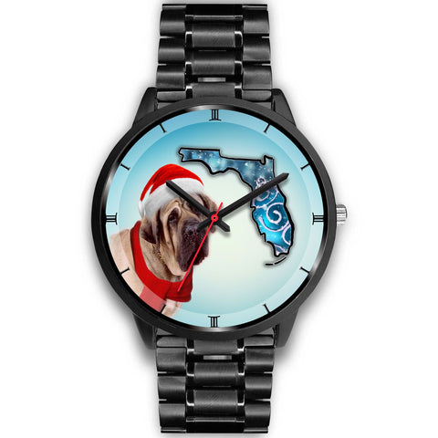 English Mastiff On Christmas Florida Wrist Watch-Free Shipping