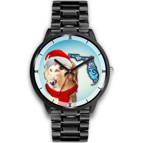 Golden Retriever On Christmas Florida Wrist Watch-Free Shipping