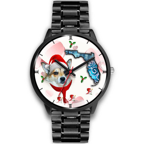 Norwegian Lundehund On Christmas Florida Wrist Watch-Free Shipping