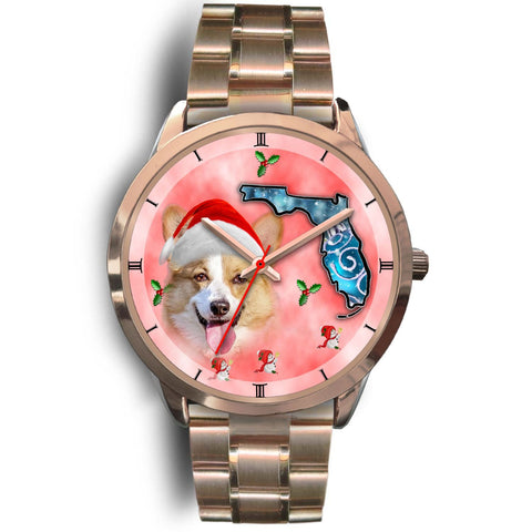 Pembroke Welsh Corgi On Christmas Florida Golden Wrist Watch-Free Shipping