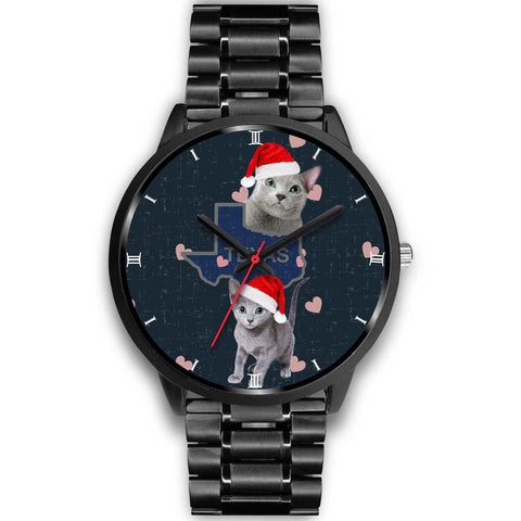 Russian Blue Cat Texas Christmas Special Wrist Watch-Free Shipping
