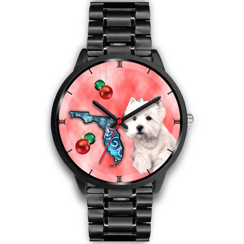 West Highland White Terrier On Christmas Florida Wrist Watch-Free Shipping