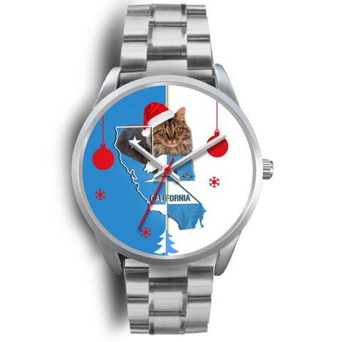 Maine Coon Cat California Christmas Special Wrist Watch-Free Shipping