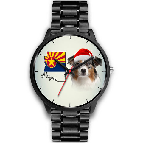 Australian Shepherd On Christmas Arizona Wrist Watch-Free Shipping