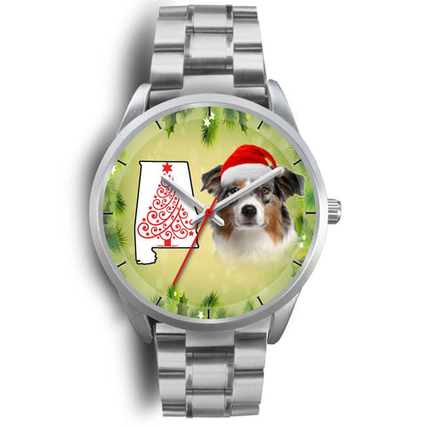 Australian Shepherd On Christmas Alabama Silver Wrist Watch-Free Shipping