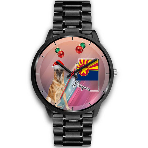Belgian Malinois Dog On Christmas Arizona Wrist Watch-Free Shipping