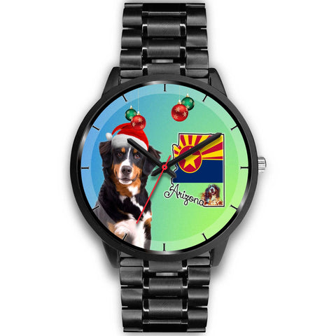 Bernese Mountain Dog On Christmas Arizona Wrist Watch-Free Shipping